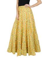 Bimba Womens longues Flaired Coton Jupe Imprimé Boho style Maxi-xzt