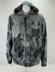 *RARE* Reebok NFL Dallas Cowboys Football Hooded Jacket Gray Men's Large