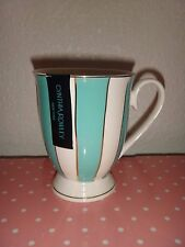 CYNTHIA ROWLEY Porcelain Coffee Mug Tea Cup White Aqua Blue Striped Gold