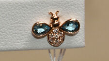 Blue Topaz & Diamond Love Bug Earrings 18K Rose Gold
