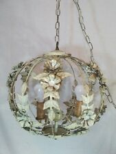 Vtg 3Light Shabby Wrought Iron Metal Roses Leaves Globe Cage Round Lamp Fixture