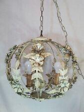 Vtg Wrought Iron Swag Lamp 3 lights Metal Roses Leaves Shabby Globe Cage