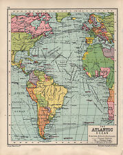 1934 MAPPA ~ nell' Oceano Atlantico ~ mostrando rotte di trasporto isole britanniche Europa ETC