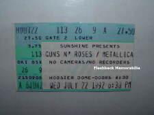 GUNS N' ROSES / METALLICA 1992 Concert Ticket Stub HOOSIER DOME INDY Very Rare