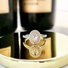 Ring 10k white Gold Finish 2.00Ct Brilliant Oval-Cut Diamond Halo Engagement