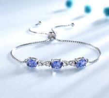 Black Friday 2 ct Blue Oval Tanzanite Three Stone Adjustable Bracelet
