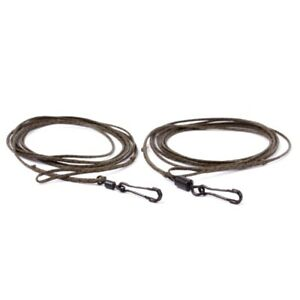 Nash Tackle - 3 x Cling-On Leaders 1.5 Metres - Silt - Swivels & Link Clips Inc.