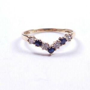 Cubic Zircon Sapphire   wishbone Ring 9 carat gold Size P1/2