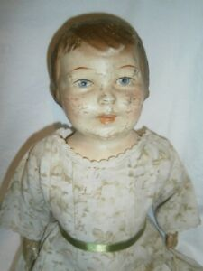 """16"""" (41CM)  ANTIQUE CIRC. 1930s AMERICAN CHARACTER HEAD COMPOSITION & CLOTH DOLL"""