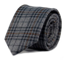 Luxury Gentlemens Country Grey Checked Skinny Tie Tweed Woven Wool Style Tartan