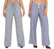 Unbranded Wide Leg Linen Mid Rise Trousers for Women