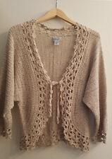 Chicos Women's Sweater Ramie Shrug Cardigan Boho Crochet Knit Beige Size 3