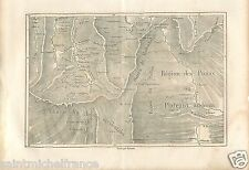 Map Carte Région de la Puna Los Andes Sierra Peru GRAVURE ANTIQUE OLD PRINT 1875