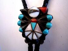 Vntg. Sterling Silver Turquoise,Coral.MOP, Zuni Indian Bolo Tie/Leather Langlon!