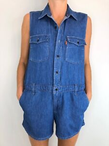 LEVIS blue denim romper sleeveless button front size small