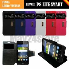 Funda soporte libro ventana Huawei P8 LITE SMART protector cristal memo opcional