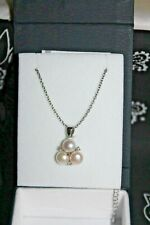 Nib Montana Silversmiths Necklace Silver 3xFreshwater Pearl & CZ's  #SLNC013