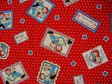 "OOP! !RAGGEDY ANN/ANDY PATCH ON RED COTTON FABRIC - BTFQ - 18""X22"""