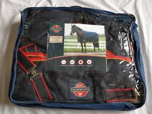 """Mackey Equisential Medium Weight Turnout Rug Standard Neck - Navy/Red - 4'3"""""""