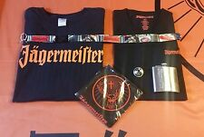 Jägermeister V-Neck Tee, Black Jager Tee, Flask, Bandana, & Lanyard - Size XL