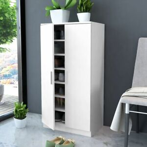 vidaXL Shoe Cabinet 7 Shelves White Rack Storage Unit Cupboard Footwear Stand
