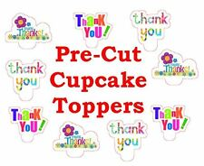 THANK YOU COLOURFUL X24 edible stand up cup cake toppers wafer paper *pre-cut*