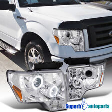 2009-2014 Ford F150 Euro Dual Halo LED Projector Headlights Clear SpecD Tuning