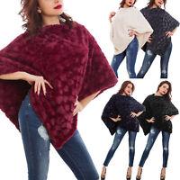 Poncho donna coprispalle mantella sciarpa eco pelliccia caldo morbido pelo S3