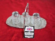 "Silver Plate ""Queen Anne"" Condiment Set Mayell & Co.Made in England (C578)"