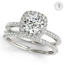 14Kt Gold Wedding Engagement Ring Set 2.15ct Round Cut Near White Moissanite In