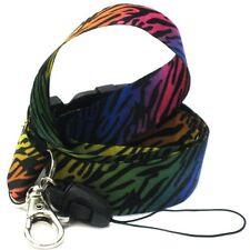 ZEBRA Multi-Color Rainbow Keychain Lanyard ID Cellphone Holder Colorful