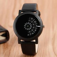 Cool  Turntable Dial Quartz Sport Leather Band Strap Men Women Dress Wrist Watch