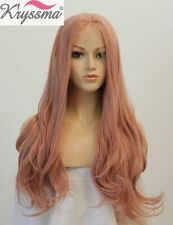 22 Inch Fashion Long Wavy Synthetic Wigs Baby Pink Synthetic Hair Lace Front Wig
