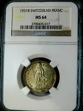 1931B Switzerland Franc-NGC MS 64- 2790435-017, Silver, Uncirculated-NGC-25-12
