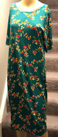 LulaRoe Julia Knee Length Dress Green w/Rose Floral Print