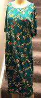 LulaRoe Julia Knee Length Dress Green w/Rose Floral Print