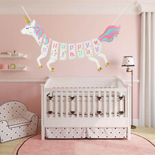 Unicorn Happy Birthday Bunting Banner Garland Glitter Themed Party Decor 8C