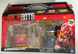 NINJABOTS 2 PACK SET HILARIOUS BATTLING ROBOTS WEAPONS RED & BLACK