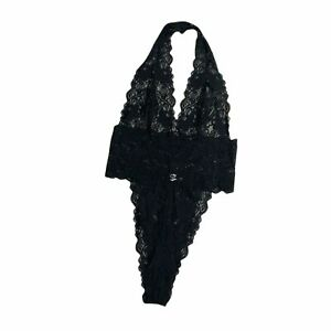 Frederick's of Hollywood Black Lace Bodysuit Lingerie Women's Size Large