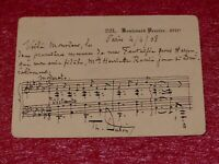 MS AUTOGRAPHE MUSIQUE - THEODORE DUBOIS 2 PORTEES SIGNEES 1908 FANTAISIE HARPE