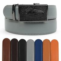 Men's Leather Ratchet Belt with Live Gator Automatic Buckle (MGLBB40)