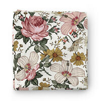 Vintage Floral Baby Muslin Swaddle Blanket 120x120cm 70% Bamboo 30% Cotton