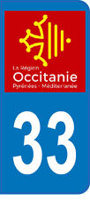 1 sticker plaque immatriculation auto DOMING 3D RESINE OCCITANIE  DEPA 33