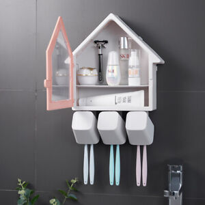 New House Shape Toothbrush Holder Wall Mounted Toothpaste Cup Storage Rack