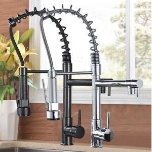 Miscelatore cucina rubinetto con doccetta estraibile monocomando nero ottone