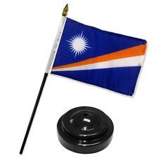 "Marshall Islands 4""x6"" Flag Desk Set Table Stick Black Base"