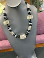 Vintage Necklace Chicos  Black White Silver Beaded Two Strand Leather Chain 20""