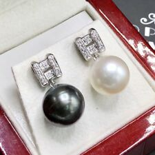 TAHITI! 12mm South Sea Pearl VS Diamonds 18K Solid White Gold Earrings Natural