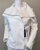 BlankNYC Size Small ZIp Front Moto Jacket White Stretch NWT $98