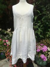 Ralph Lauren Ivory Linen Holiday Dress  With Lace Bodice Size L
